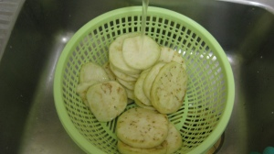 Salt and Rinse Eggplant