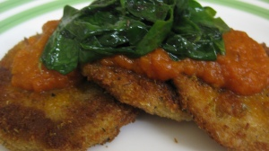 Eggplant Schnitzel with Homemade Pasta Sauce and Sauteed Spinach
