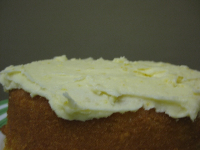 Verjuice and Lemon Frosting on Lemon Buttermilk Cake