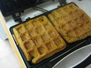 Pumpkin Waffles in Waffle Iron