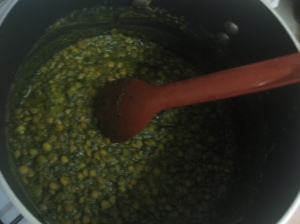 Simmering Green Lentil Curry with Spinach