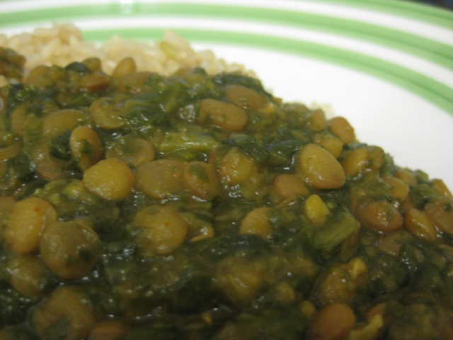 Green Lentil Curry with Spinach