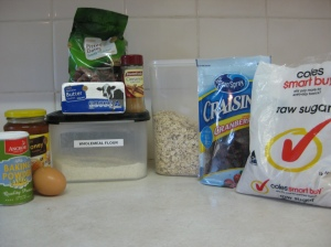 Oat Date and Cranberry Cookie Ingredients